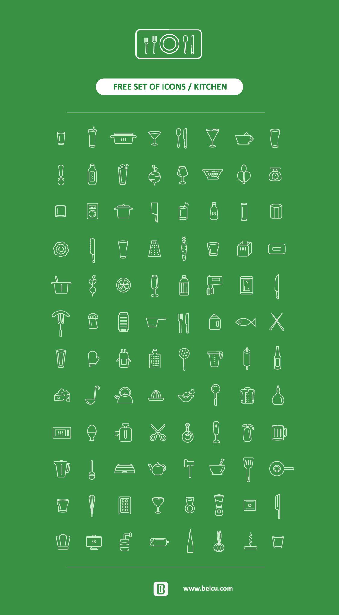 96枚线性厨房图标,AI源文件