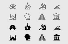 100枚地标建筑图标,PSD AI源文件