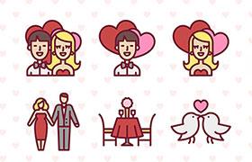 50枚可爱情人节矢量图标,AI源文件