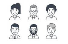 16枚用户卡通头像图标,AI sketch svg 源文件