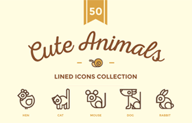 50枚可爱动物矢量图标,SVG格式