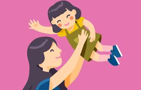 母亲节矢量卡通素材,AI源文件