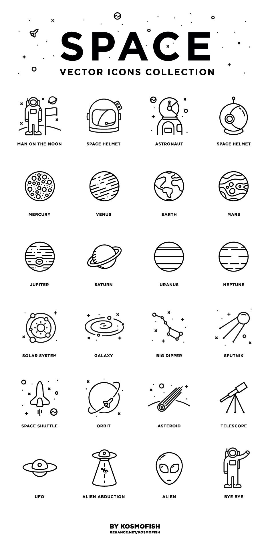 24枚太空图标,AI源文件