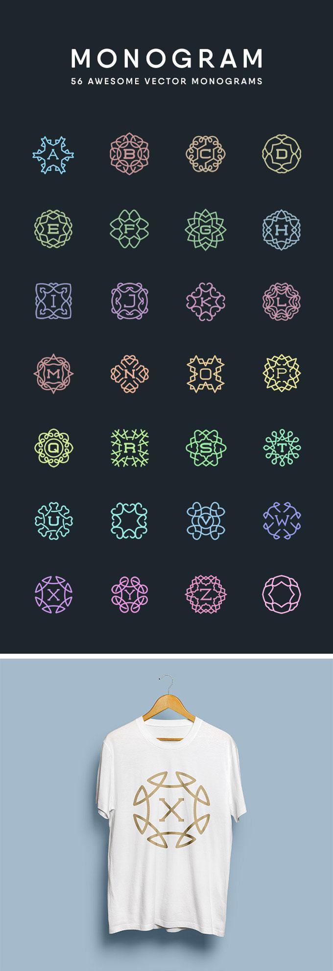 24款字母对称形状矢量素材,AI源文件