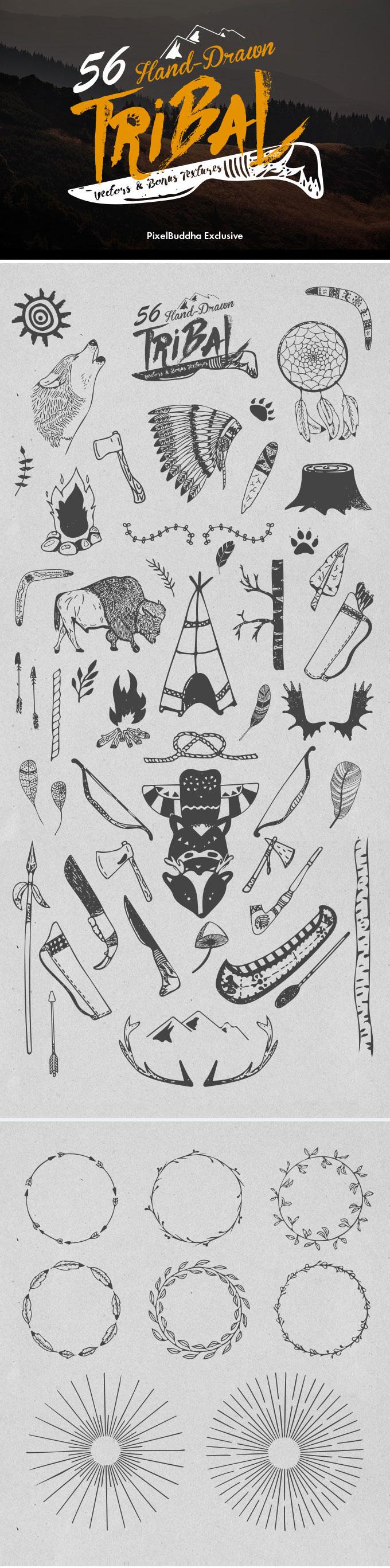 56款印第安手绘矢量图,AI源文件