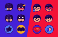 12枚超人蝙蝠侠表情图标,AI源文件