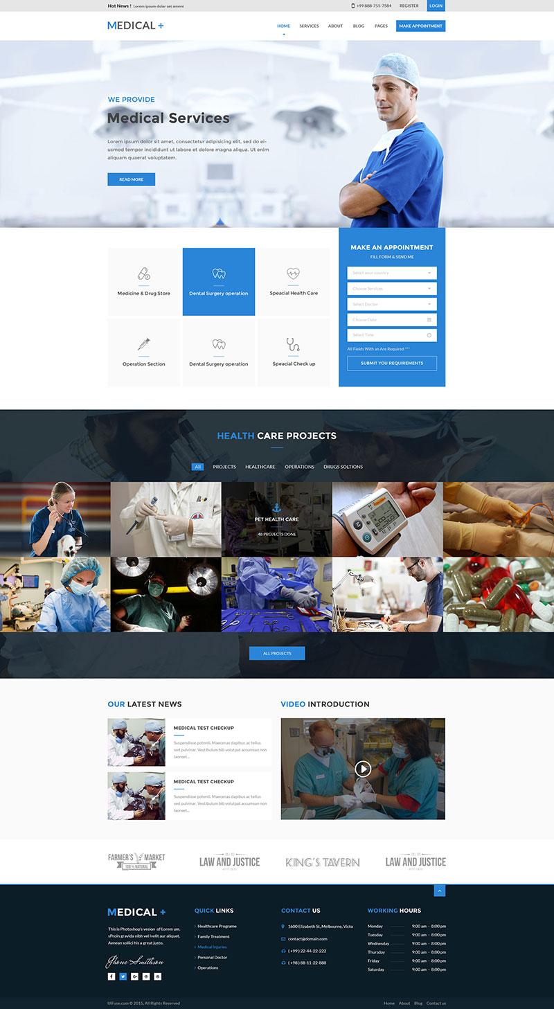 国外医疗机构网站模板,PSD源文件