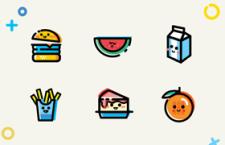9枚MBE风格美食图标,PSD源文件
