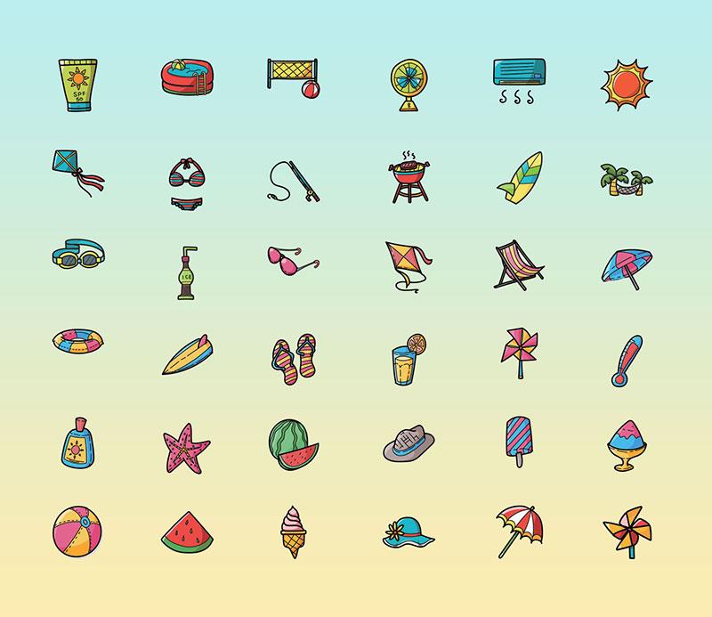 36枚海滩图标,PSD格式