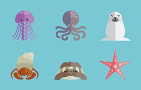 9种海洋动物矢量图,AI源文件