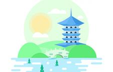 6款风景插画,PSD源文件