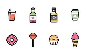 12枚美食图标,AI源文件