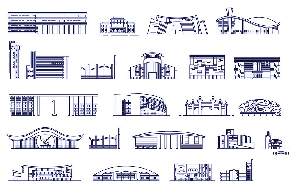 23款大学建筑线稿图,AI源文件
