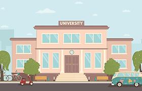 卡通风格学校宿舍矢量素材,AI源文件