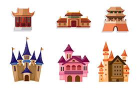 矢量皇宫城堡建筑素材,AI源文件