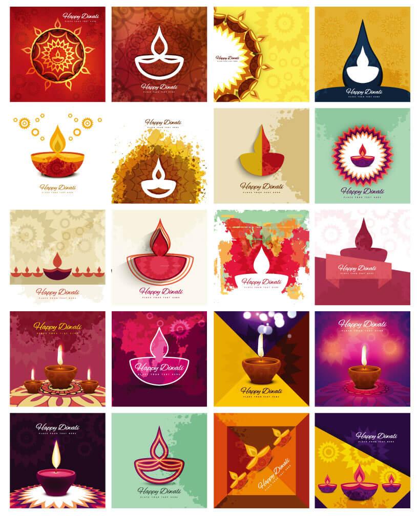 印度排灯节蜡烛矢量素材,AI源文件
