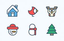 12枚简约圣诞节图标,AI源文件