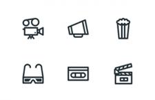 12枚线性电影图标,PSD AI源文件