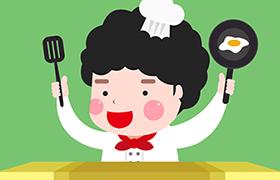 可爱的韩国卡通小厨师,PSD源文件