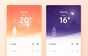 天气应用UI模版,PSD源文件