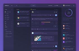 国外紫色个性UI后台模版,PSD源文件