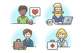 6张职场人物插画,AI Sketch源文件