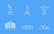 6枚里程碑建筑图标,AI源文件