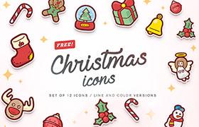 12枚圣诞卡通图标,AI SVG PNG格式