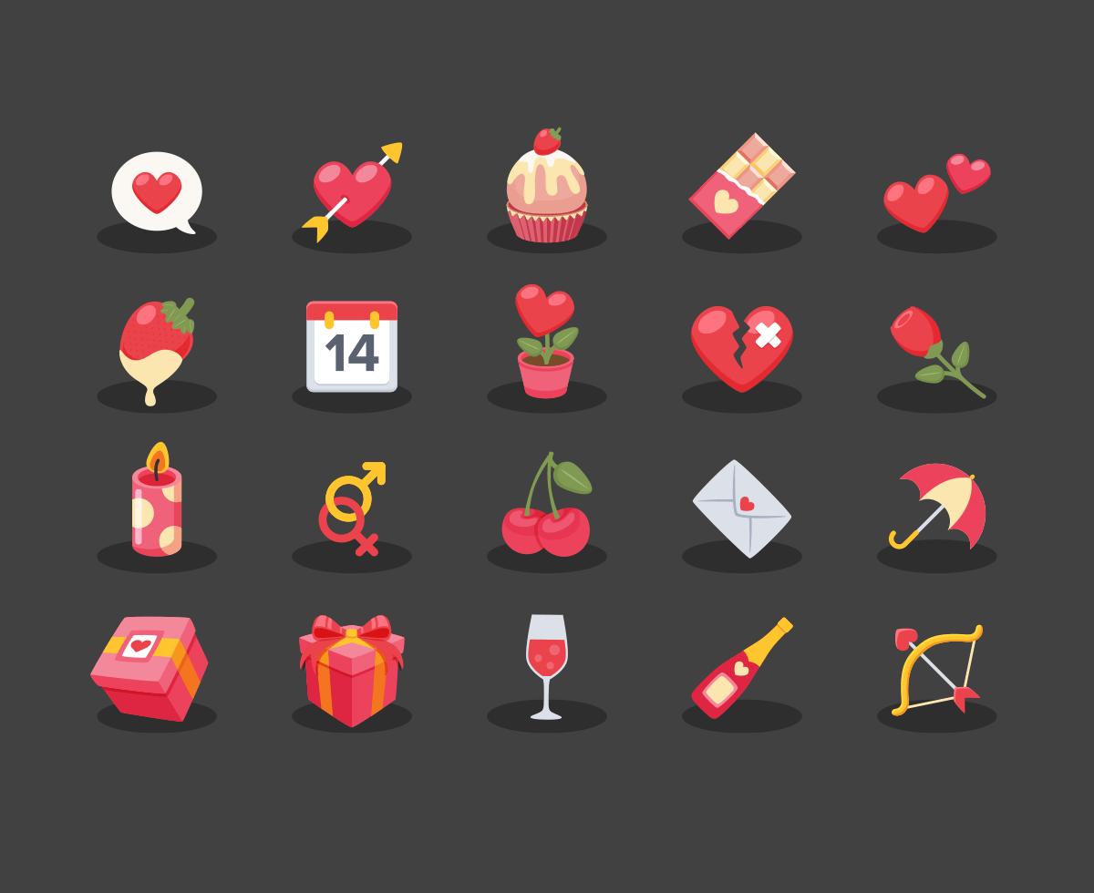20枚情人节图标,AI源文件