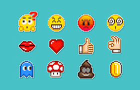 24枚emoji表情像素图标,GIF图标