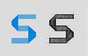 超赞Logo手绘稿效果,PS动作