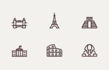 12枚线性建筑图标,AI源文件