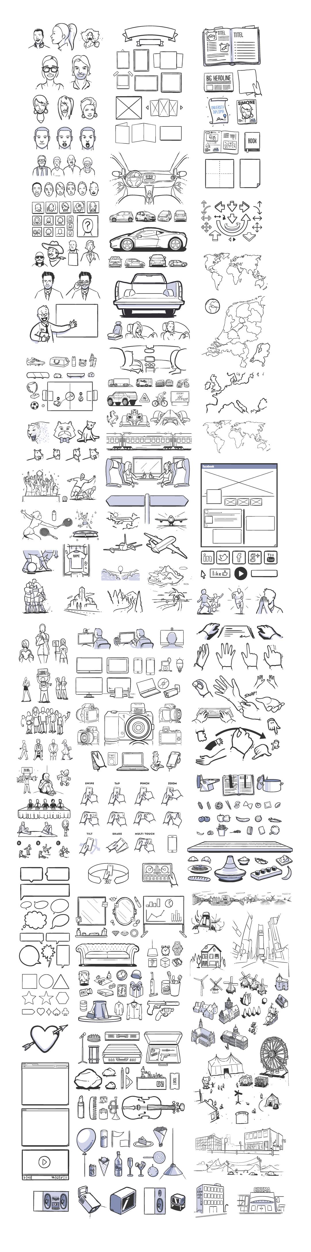 430+矢量手绘插图,AI源文件