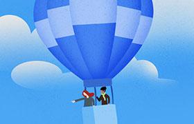 欧美风热气球插图,PSD源文件