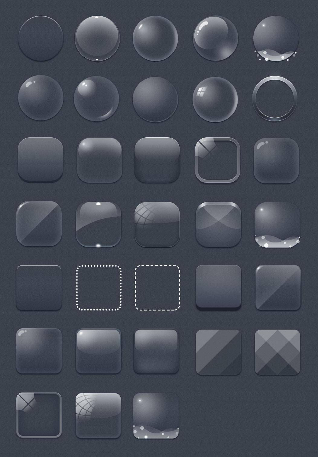 33枚玻璃质感的空白图标,PSD源文件