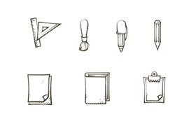 9枚手绘图标,AI源文件