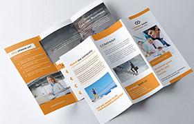 企业手册三折页模板,PSD源文件