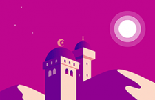 扁平化清真寺矢量素材,PSD源文件