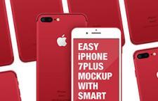 iPhone7 red 红色手机模版,PSD格式