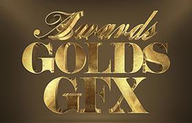 3D黄金字体样式,PSD格式