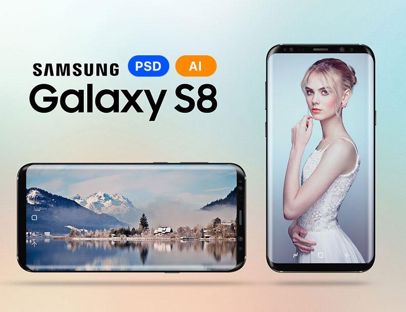 三星Galaxy S8 手机矢量素材,PSD AI源文件