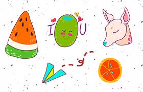 8枚卡通手绘贴纸图标,PNG格式