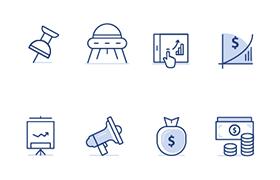 18枚金融主题图标,AI源文件