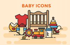 12枚婴儿用品图标,AI sketch源文件