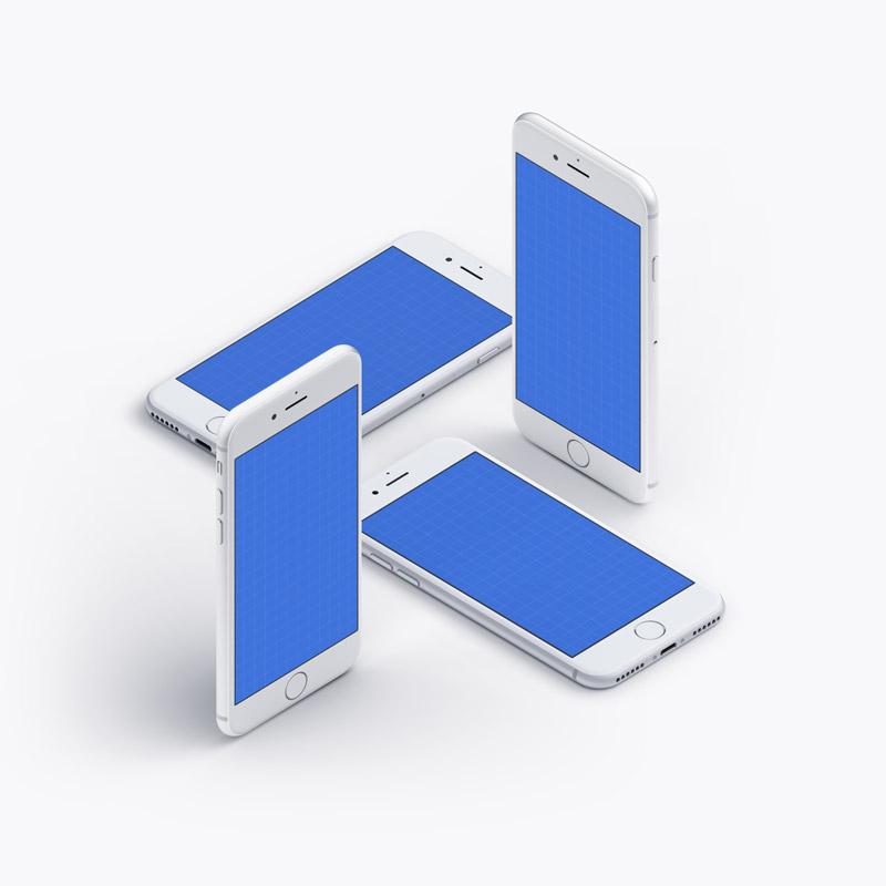 白色iPhone7 多角度展示模版,PSD分层