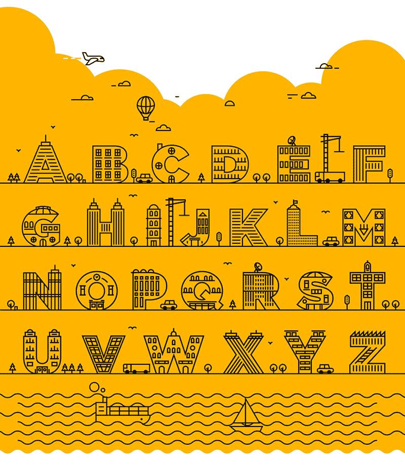 26个英文字母建筑 矢量插图,AI源文件