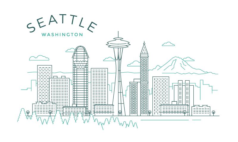 5张美国城市线性插图,AI源文件