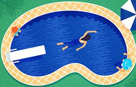 游泳池矢量素材,AI源文件