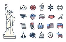 24枚美国元素图标,AI源文件