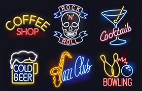 酒吧霓虹灯牌矢量素材,AI源文件